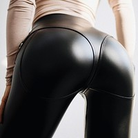 Women's sexy tight-fitting high-waisted zippered motorcycle trousers