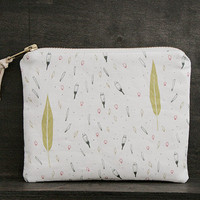 Metal Zipper Storage Pouch - Exclusive Own Illustrated Fabric Design - Breeze of Leaves