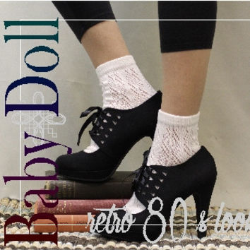 Lace sock, lace socks, lace ankle sock, crochet, sock, lace socks for heels, JANEY Cream ankle sock | CS0
