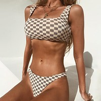 Bikini Plaid Low Waist Swimsuit Women Push Up Bikini Swimwear Lady Beach Wear Women Swimming Suits