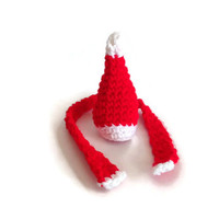 Santa hat scarf, cozy wine bottle, Christmas decor, bottle topper