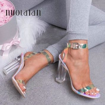 Women Simple Style PVC Clear Transparent Buckle Sandals