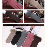 Women's Stretch Knit Winter Warm Wool Rabbit Fur Gloves For Party Outdoors = 1958037252