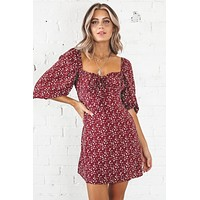 Love By The Maroon Floral Dress