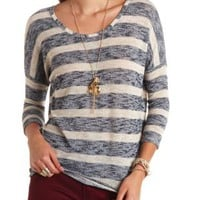 Dolman Sleeve Striped Sweater by Charlotte Russe - Navy Blue Cmb