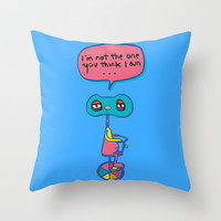 Who am I? Throw Pillow by PINT GRAPHICS