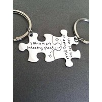 You are my missing piece, couples keychains, puzzle piece keychain set , Anniversary Gift