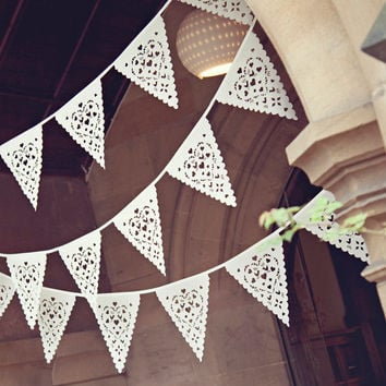 Gorgeous Wedding bunting perfect Venue decoration, love birds fabric garland