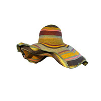 Huge Dramatic Straw Sunhat w/ Multi-Color Stripes  Wired Brim
