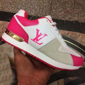 Inseva LV Shoes Louis Vuitton Sneakers Fashion Trending Sports Flat Classic Shoes Rose red