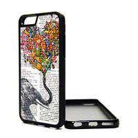 Apple iPhone 6 5C 5S 4S Generation Fitted Rubber Silicone TPU Phone Case Cover Elephant Heart Dictionary Print Vintage Hipster