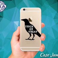 Trick Or Treat Crow Black Halloween Spooky iPhone 5 iPhone 5C iPhone 6 iPhone 6 + iPhone 6s iPhone 6s Plus and iPhone SE iPhone 7 Clear Case