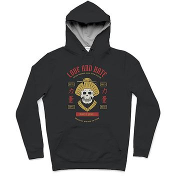 Love And Hate Trendy All-Over Print Solid Ebony Hoodie