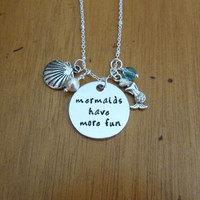Little Mermaid Inspired Necklace. Mermaids have more fun. Silver colored,  Swarovski Elements crystal. Hand stamped. Mermaid gift.