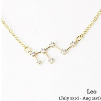 Leo Constellation Zodiac Necklace - As seen in Real Simple & People Style Watch Magazines