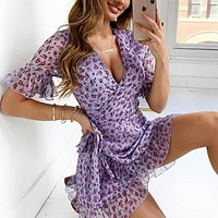 2020 new women's small floral irregular lace dress
