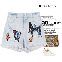 Butterfly Embroidery Weathered Shorts Pants Jeans [4951939396]