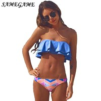 SAMEGAME 2019 Sexy Swimwear Women Bikini Swimsuit Brazilian Bandage Halter Top Bathing Suits Retro Vintage Print Beach Biquini