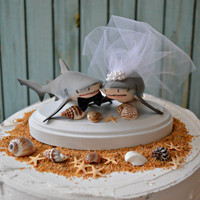 Shark- shark-bull shark-shark-wedding-wedding cake topper-shark lover-bride-groom-beach wedding-destination wedding-nautical-fishing