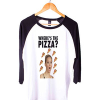 Jennifer Lawrence Where s the Pizza Short Sleeve Raglan - White Red - White Blue - White Black XS, S, M, L, XL, AND 2XL*AD*