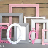 Pinks Grays White Frame Set Custom Frames Open or Frames with GLASS Baby Girl Nursery You Choose Frame Collection Grey Pink White