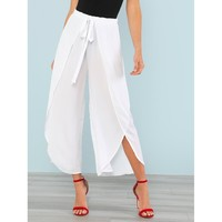 White High Waist Wrap Wide Leg Crop Pant