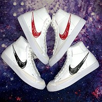 Nike Blazer Mid 77 Manuscript Graffiti White Red Black and White Hook Sneakers