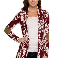 PLUS: Printed long sleeve cardigan with suede patch