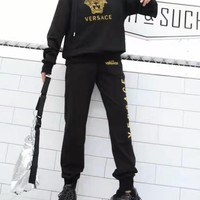 """"""" VERSACE"""" Woman's Leisure Fashion Letter Embroidery Printing Long Sleeve Hooded Tops Trousers Two-Piece Set Casual Wear"""