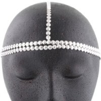 2 Pieces of Metallic Silvertone Circles Double Row Style Head Chain