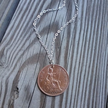 1927 British coin necklace. One penny coin coin. Copper coin. Antique coin.