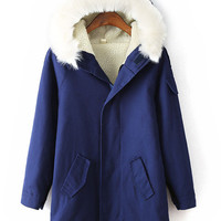 Blue Thick Faux Collar Padded Hood Coat
