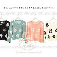 Perfect for the season from 4 color insert cute flower pattern knit / sweater now! Knit/sweater
