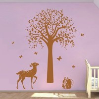 ik395 Wall Decal Sticker Room Decor Wall Art Mural tree deer squirrel butterflies forest animals children's bedroom