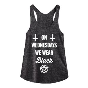 On Wednesdays We Wear Black-Female Athletic Tri Black Tank
