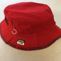 BRAND NEW ADIDAS RED BUCKET HAT WITH BLUE TRIM SMALL/MEDIUM SHIPPING