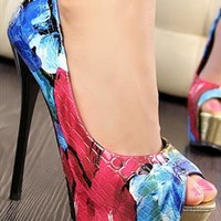 Flora Print Peep Toe Heeled Shoes RTC840 from topsales