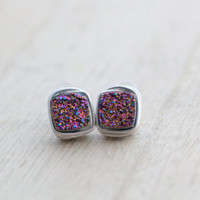 Square Druzy Studs, Rainbow Titanium Bezel Wrapped Post Earrings in Gold, Rose Gold, Silver, Geometric Fashion