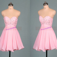 2015 short pink chiffon prom dresses on sale,latest chic homecoming gowns with sequins,cheap women juniors dress for holiday party hot.