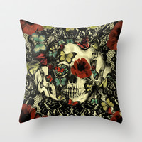 Vintage Gothic Lace Skull Throw Pillow by Kristy Patterson Design