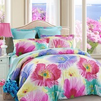 LOVO Fragrance Beautiful Scene 100% Cotton 300TC Percale 4-piece Bedding Set Duvet Cover,Flat Sheet and 2 Pillowcases Queen