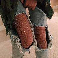 Sought-After New Women Crystal Rhinestone Fishnet Elastic Stockings Fish Net Tights Pantyhose
