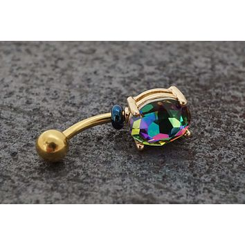 Rainbow CZ Yellow Gold Belly Button Ring