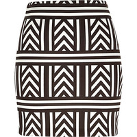 River Island Womens Black geometric print mini tube skirt