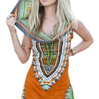 Women Sexy Traditional African Print Dashiki Bodycon Sexy Sleeveless Dress with Hat Orange
