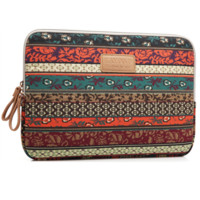 """Ethnic Floral  Macbook Laptop Air Pro Canvas Fabric Sleeve Case Bag 10"""" 11"""" 12"""" 13"""" 14"""" 15"""" -N0025"""