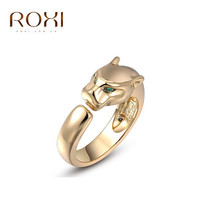 Roxi Rings and punk 14k gold/rose gold/platinum palting with green eye Crystal Leopard rings