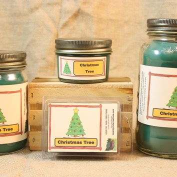 Christmas Tree Candle and Wax Melts, Holiday Scent Candle, Highly Scented Candles and Wax Tarts, Christmas Candle for Hostess Gift