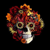Full circle...Floral ohm skull Stretched Canvas by Kristy Patterson Design