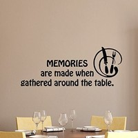 Wall Decals Quote Memories Are Made When Gathered Around the Table Kitchen Utensils Cafe Vinyl Sticker Decal Living Room Decor Home Interior Design Art Murals